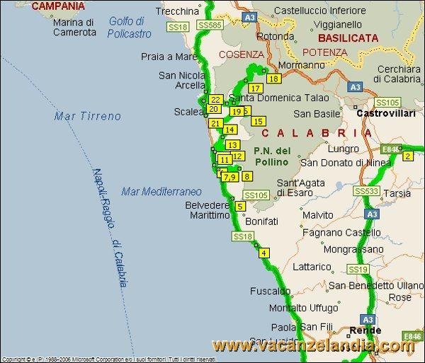 Calabria Costa Tirrenica Cartina.Vacanzelandia Itinerari Diari Di Viaggio Calabria Riviera Dei Cedri