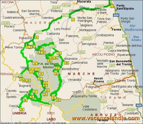 Cartina Marche Umbria.Vacanzelandia Itinerari Diari Di Viaggio Marche Umbria Parco Nazionale Dei Monti Sibillini