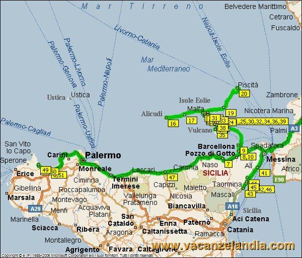 Sicilia E Isole Cartina.Vacanzelandia Itinerari Diari Di Viaggio Sicilia Isole Eolie E Un Po Di Sicilia